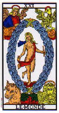 The World tarot card marseille deck
